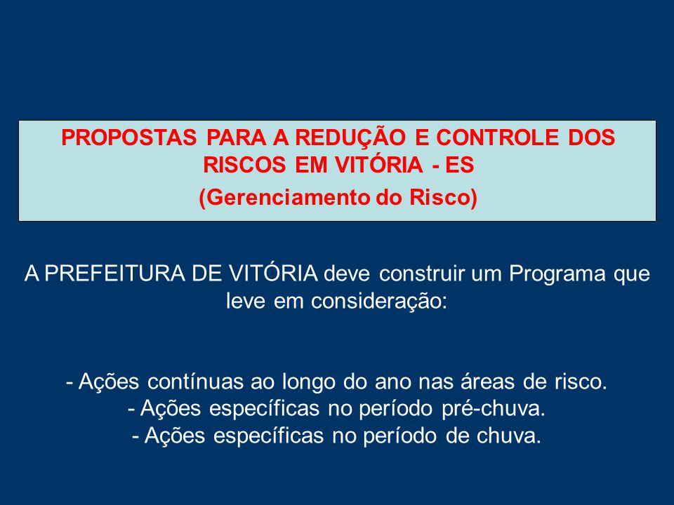 PROPOSTAS PARA A REDUÇÃO E CONTROLE DOS RISCOS EM VITÓRIA - ES (Gerenciamento do Risco) A PREFEITURA DE VITÓRIA deve construir um Programa que leve em