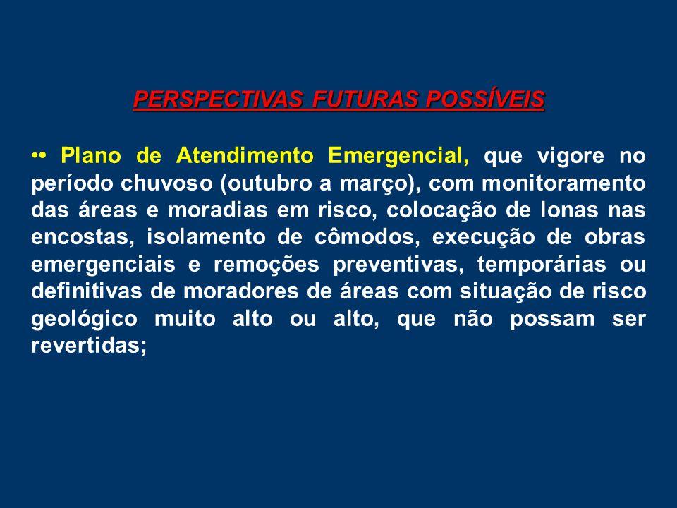 PERSPECTIVAS FUTURAS POSSÍVEIS •• Plano de Atendimento Emergencial, que vigore no período chuvoso (outubro a março), com monitoramento das áreas e mor