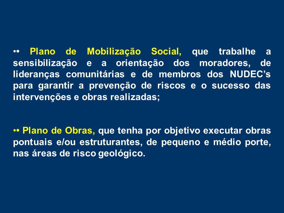 •• Plano de Mobilização Social, que trabalhe a sensibilização e a orientação dos moradores, de lideranças comunitárias e de membros dos NUDEC's para g