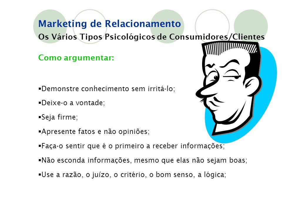 Marketing de Relacionamento Os Vários Tipos Psicológicos de Consumidores/Clientes Como argumentar:  Demonstre conhecimento sem irritá-lo;  Deixe-o a