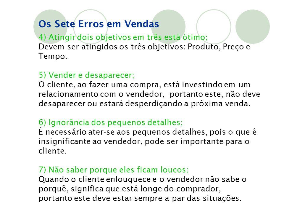 4) Atingir dois objetivos em três está ótimo; Devem ser atingidos os três objetivos: Produto, Preço e Tempo. 5) Vender e desaparecer; O cliente, ao fa