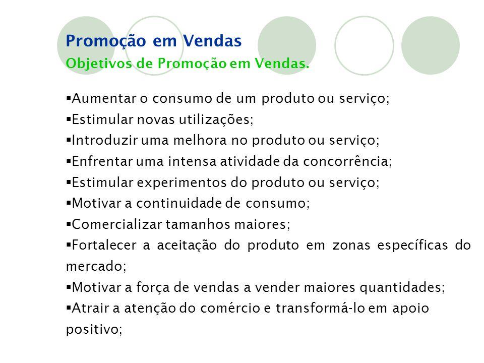Objetivos de Promoção em Vendas.  Aumentar o consumo de um produto ou serviço;  Estimular novas utilizações;  Introduzir uma melhora no produto ou