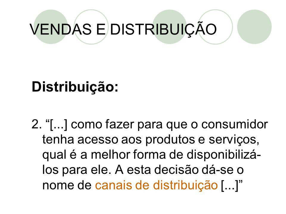 """Distribuição: 2. """"[...] como fazer para que o consumidor tenha acesso aos produtos e serviços, qual é a melhor forma de disponibilizá- los para ele. A"""