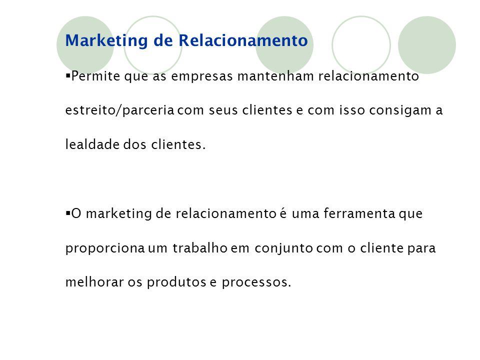 Marketing de Relacionamento  Permite que as empresas mantenham relacionamento estreito/parceria com seus clientes e com isso consigam a lealdade dos