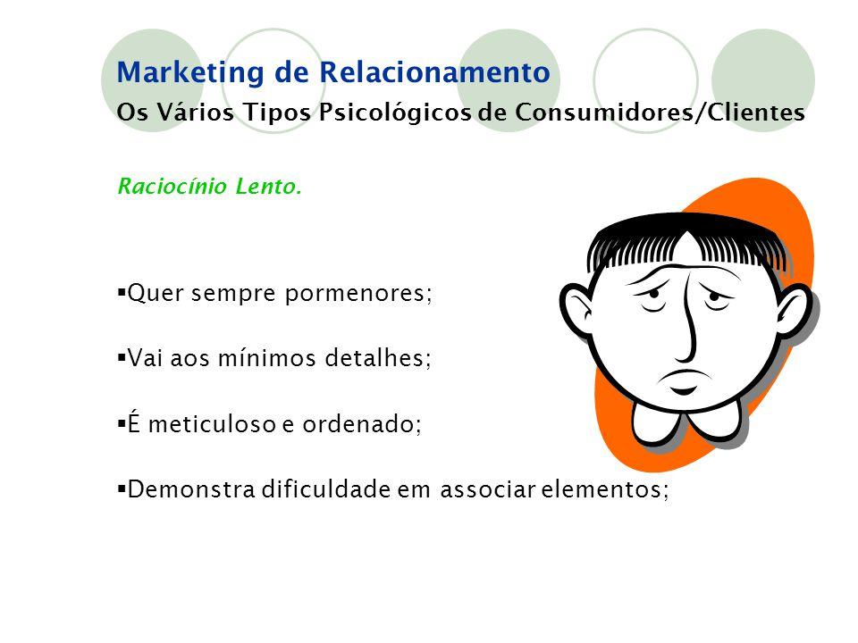 Os Vários Tipos Psicológicos de Consumidores/Clientes Raciocínio Lento.  Quer sempre pormenores;  Vai aos mínimos detalhes;  É meticuloso e ordenad