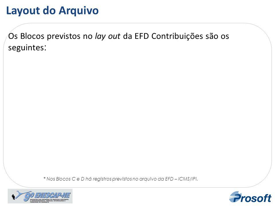 Lay out Os Blocos previstos no lay out da EFD Contribuições são os seguintes : * Nos Blocos C e D há registros previstos no arquivo da EFD – ICMS/IPI.