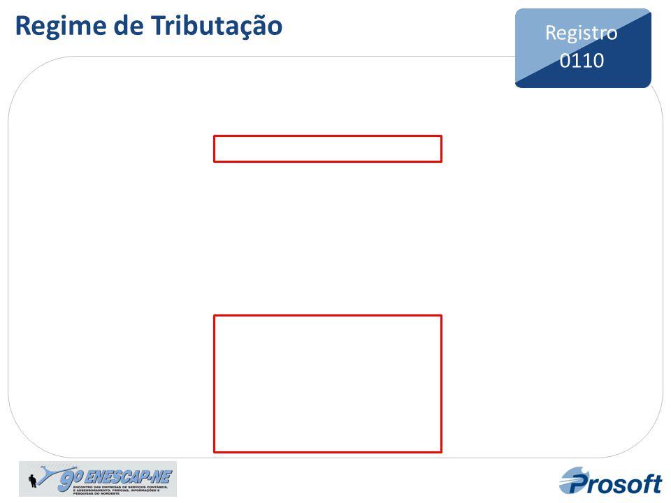 Bloco 0 Registro 0110 Regime de Tributação Registro 0110