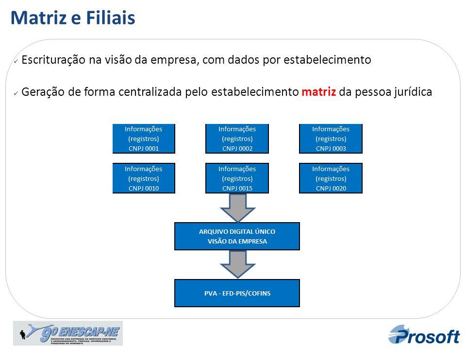 Escrituração na visão da empresa, com dados por estabelecimento  Geração de forma centralizada pelo estabelecimento matriz da pessoa jurídica Matri