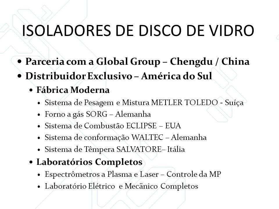 ISOLADORES DE DISCO DE VIDRO  Parceria com a Global Group – Chengdu / China  Distribuidor Exclusivo – América do Sul  Fábrica Moderna  Sistema de