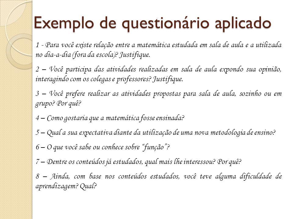 Exemplo de questionário aplicado 1 - Para você existe relação entre a matemática estudada em sala de aula e a utilizada no dia-a-dia (fora da escola)?