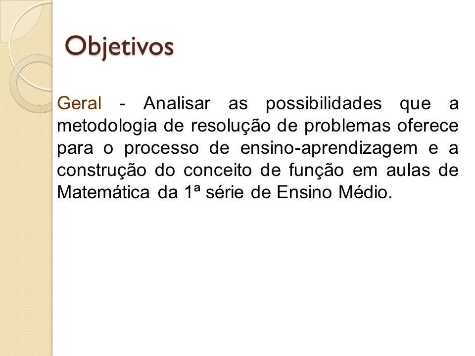 Objetivos Geral - Analisar as possibilidades que a metodologia de resolução de problemas oferece para o processo de ensino-aprendizagem e a construção