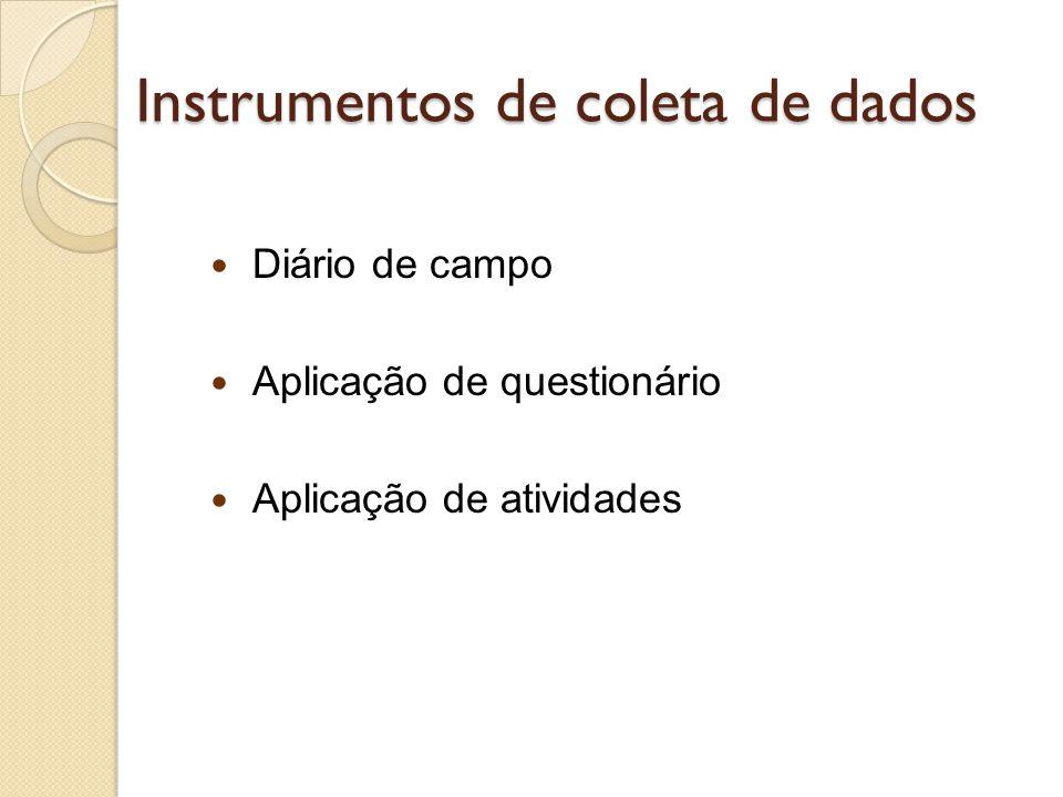 Instrumentos de coleta de dados  Diário de campo  Aplicação de questionário  Aplicação de atividades