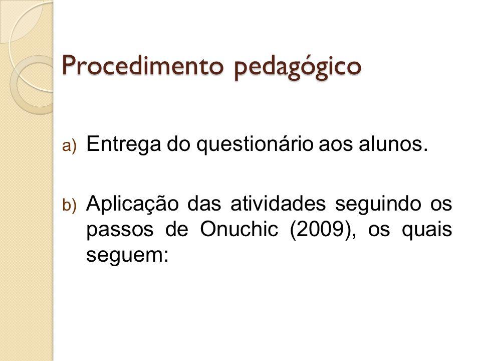 Procedimento pedagógico a) Entrega do questionário aos alunos. b) Aplicação das atividades seguindo os passos de Onuchic (2009), os quais seguem:
