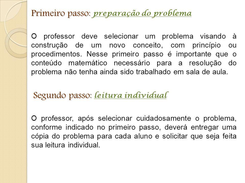 Primeiro passo : Primeiro passo : preparação do problema O professor deve selecionar um problema visando à construção de um novo conceito, com princíp