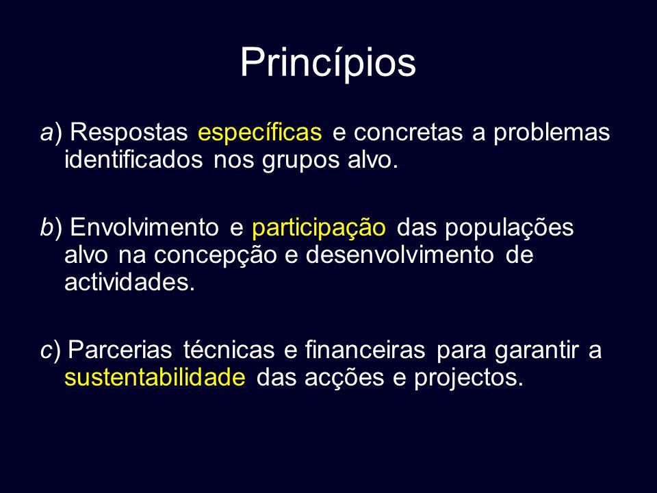 Princípios a) Respostas específicas e concretas a problemas identificados nos grupos alvo.