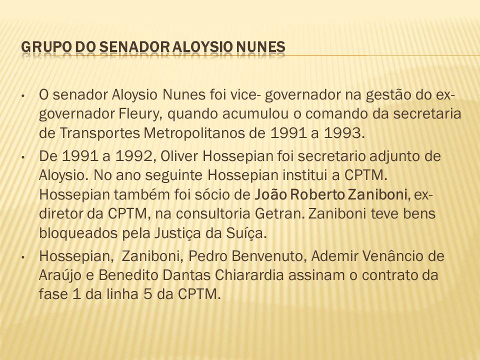 • O senador Aloysio Nunes foi vice- governador na gestão do ex- governador Fleury, quando acumulou o comando da secretaria de Transportes Metropolitan