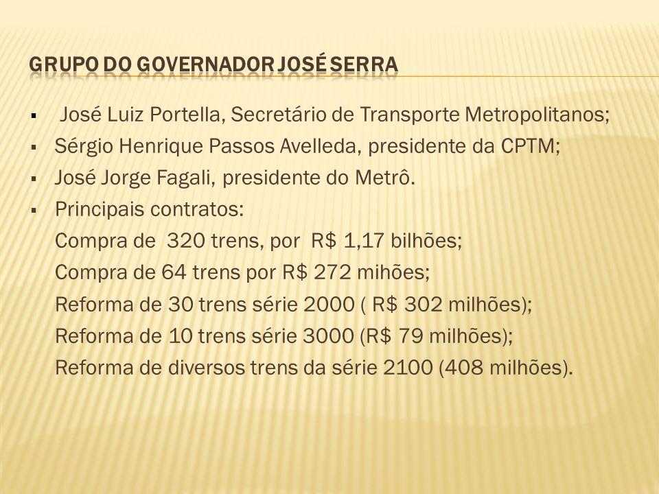  José Luiz Portella, Secretário de Transporte Metropolitanos;  Sérgio Henrique Passos Avelleda, presidente da CPTM;  José Jorge Fagali, presidente