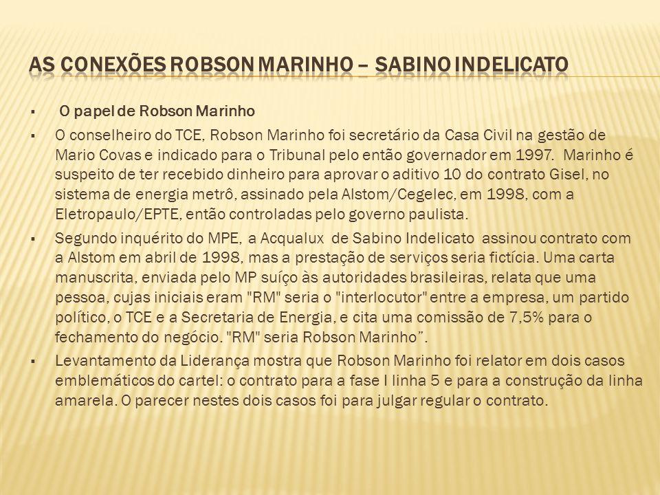  O papel de Robson Marinho  O conselheiro do TCE, Robson Marinho foi secretário da Casa Civil na gestão de Mario Covas e indicado para o Tribunal pe