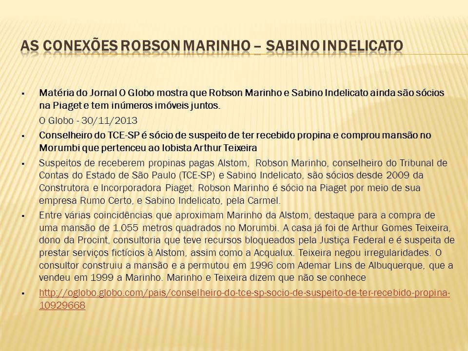  Matéria do Jornal O Globo mostra que Robson Marinho e Sabino Indelicato ainda são sócios na Piaget e tem inúmeros imóveis juntos. O Globo - 30/11/20