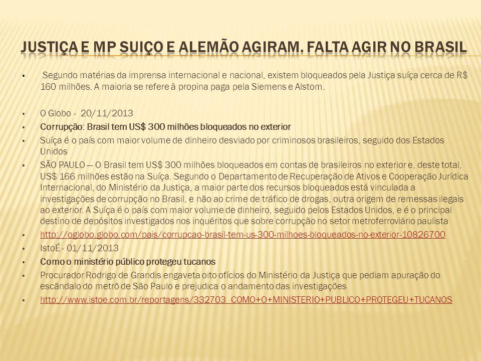  Segundo matérias da imprensa internacional e nacional, existem bloqueados pela Justiça suíça cerca de R$ 160 milhões. A maioria se refere à propina