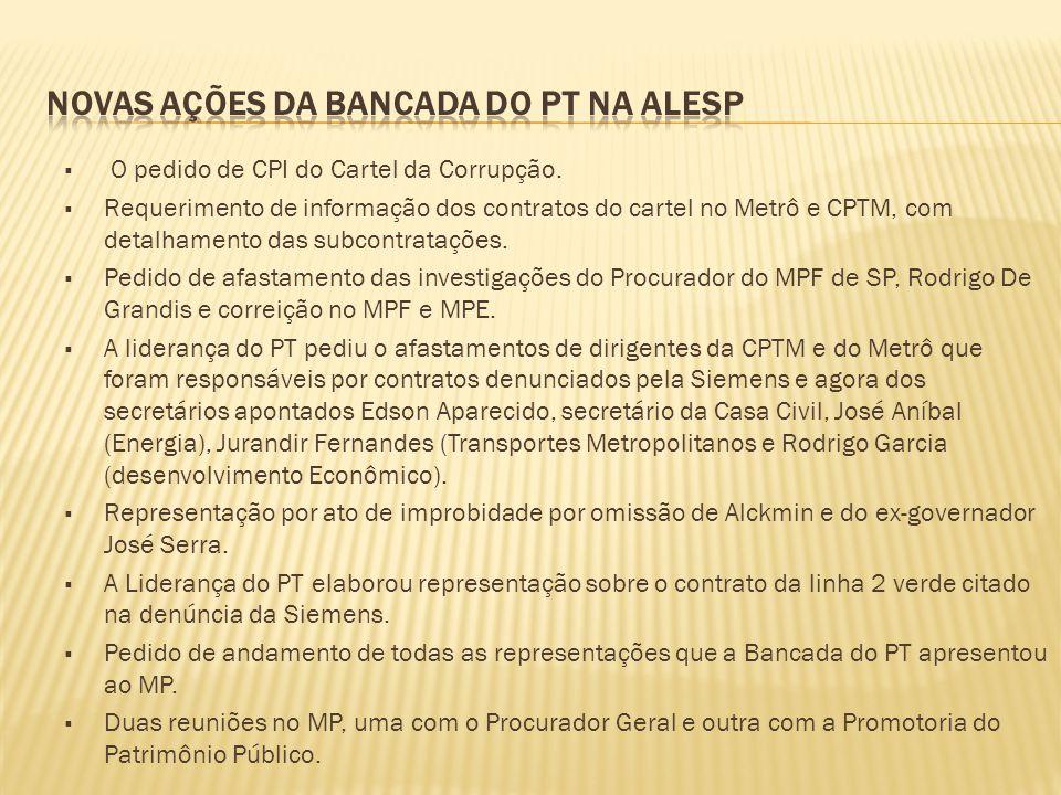  O pedido de CPI do Cartel da Corrupção.  Requerimento de informação dos contratos do cartel no Metrô e CPTM, com detalhamento das subcontratações.