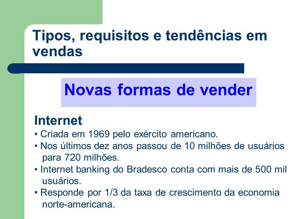 Novas formas de vender Internet • Criada em 1969 pelo exército americano. • Nos últimos dez anos passou de 10 milhões de usuários para 720 milhões. •
