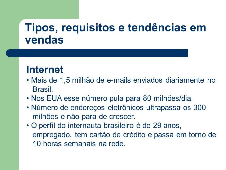 Internet • Mais de 1,5 milhão de e-mails enviados diariamente no Brasil. • Nos EUA esse número pula para 80 milhões/dia. • Número de endereços eletrôn
