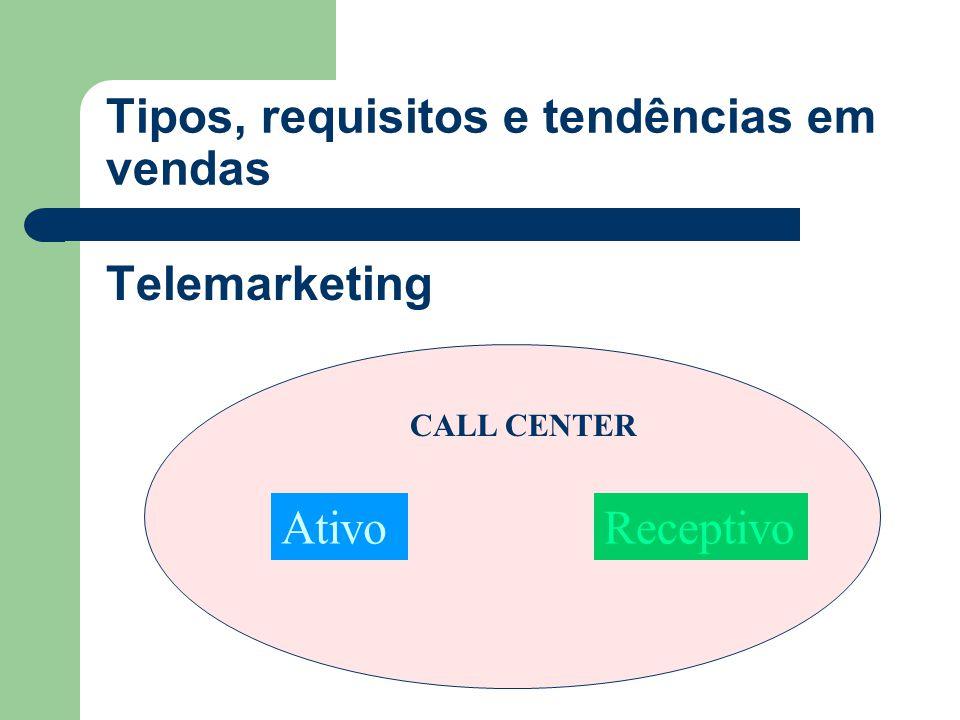 Telemarketing AtivoReceptivo CALL CENTER Tipos, requisitos e tendências em vendas