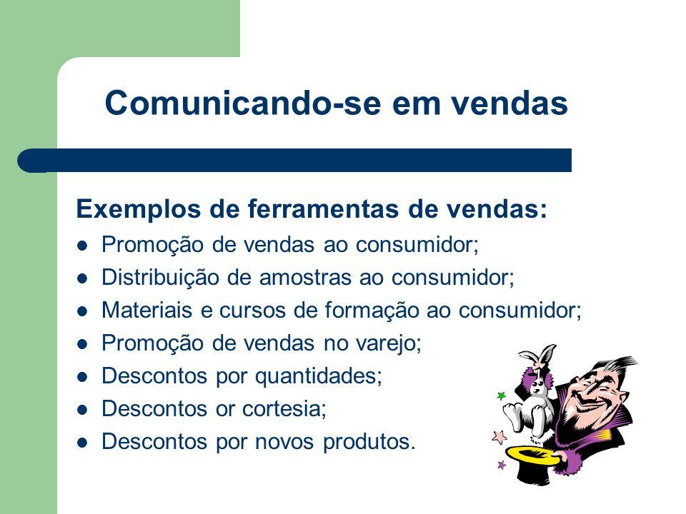 Comunicando-se em vendas Exemplos de ferramentas de vendas:  Promoção de vendas ao consumidor;  Distribuição de amostras ao consumidor;  Materiais e cursos de formação ao consumidor;  Promoção de vendas no varejo;  Descontos por quantidades;  Descontos or cortesia;  Descontos por novos produtos.
