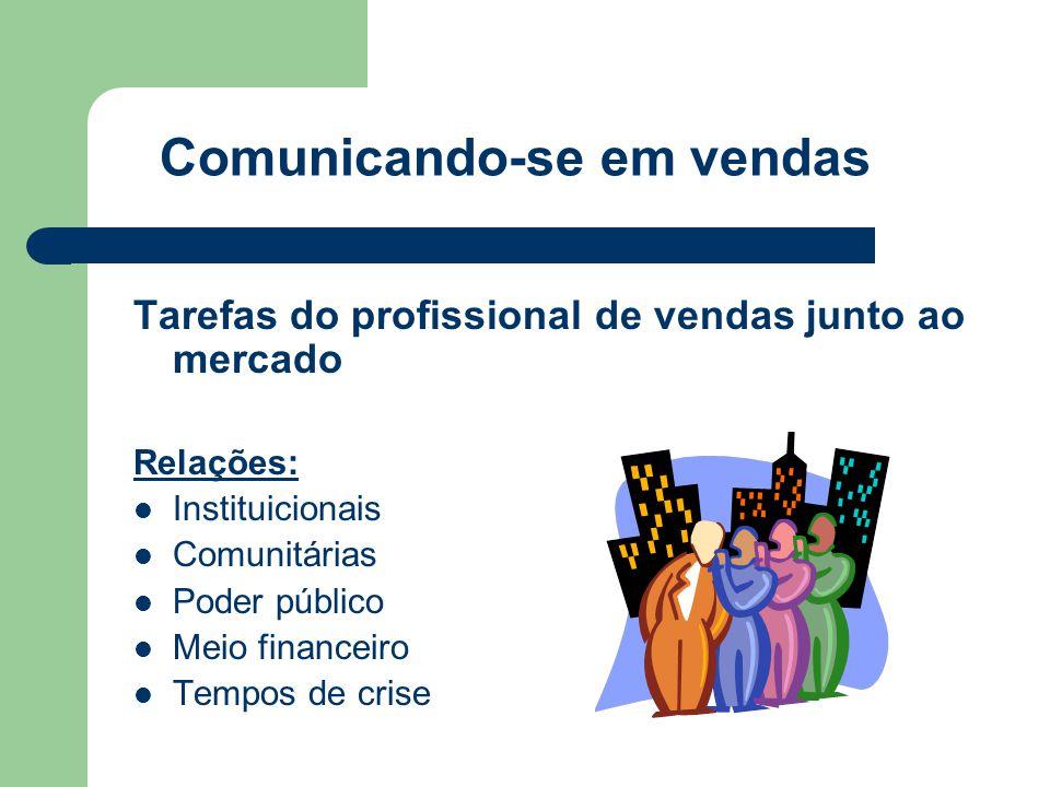 Comunicando-se em vendas Tarefas do profissional de vendas junto ao mercado Relações:  Instituicionais  Comunitárias  Poder público  Meio financeiro  Tempos de crise