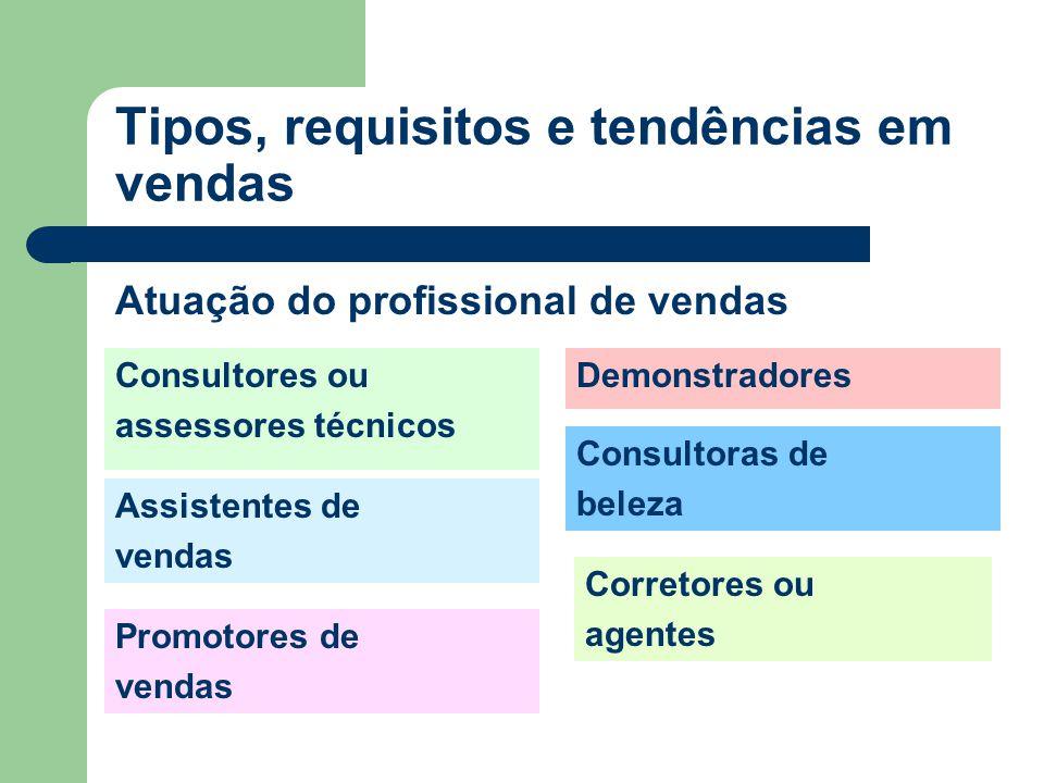 Consultores ou assessores técnicos Assistentes de vendas Promotores de vendas Tipos, requisitos e tendências em vendas Atuação do profissional de vendas Demonstradores Consultoras de beleza Corretores ou agentes