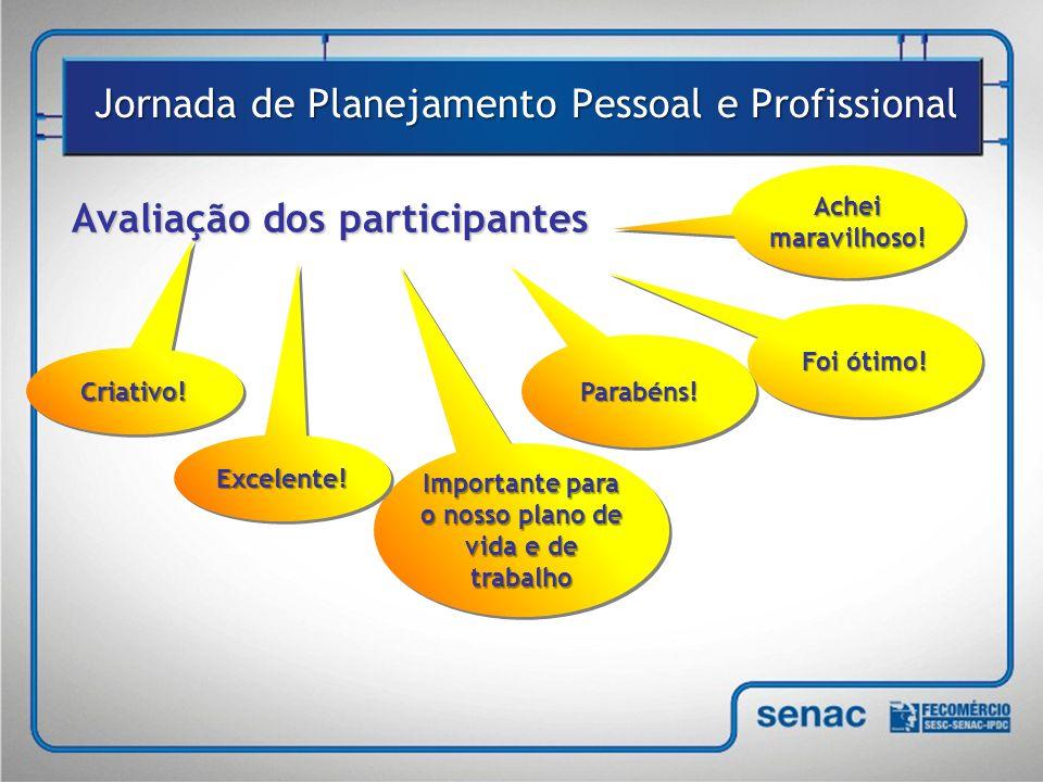 Avaliação dos participantes Jornada de Planejamento Pessoal e Profissional Achei maravilhoso.