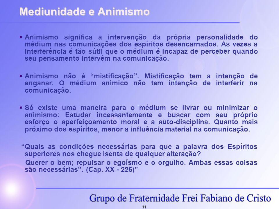 11 Mediunidade e Animismo  Animismo significa a intervenção da própria personalidade do médium nas comunicações dos espíritos desencarnados. As vezes