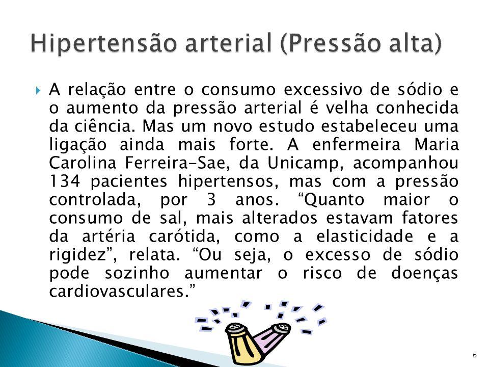  A relação entre o consumo excessivo de sódio e o aumento da pressão arterial é velha conhecida da ciência.