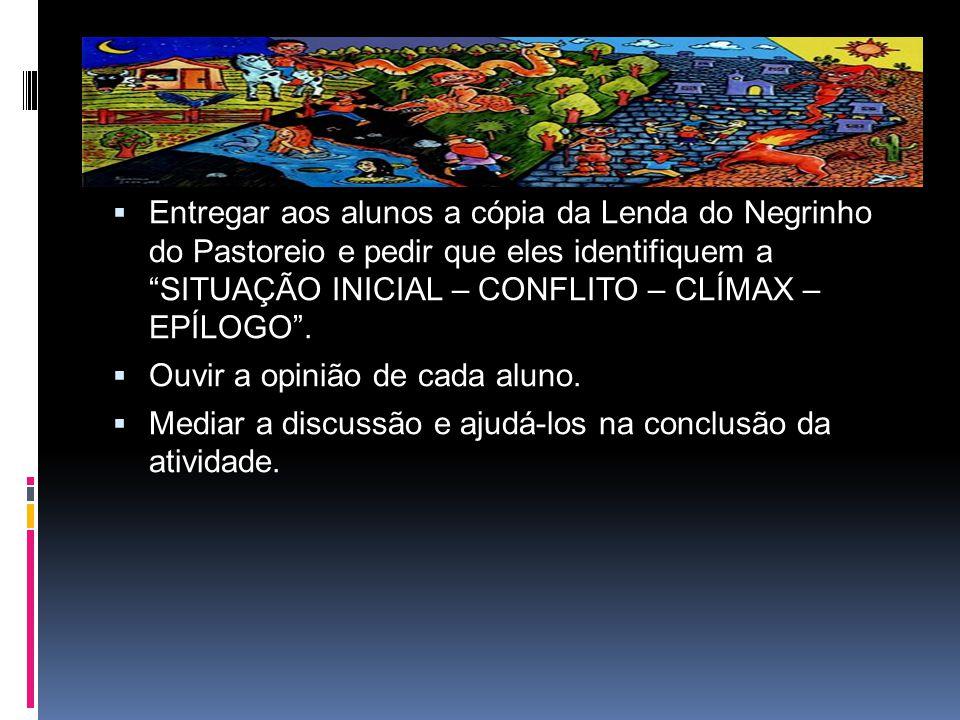 """ Entregar aos alunos a cópia da Lenda do Negrinho do Pastoreio e pedir que eles identifiquem a """"SITUAÇÃO INICIAL – CONFLITO – CLÍMAX – EPÍLOGO"""".  Ou"""