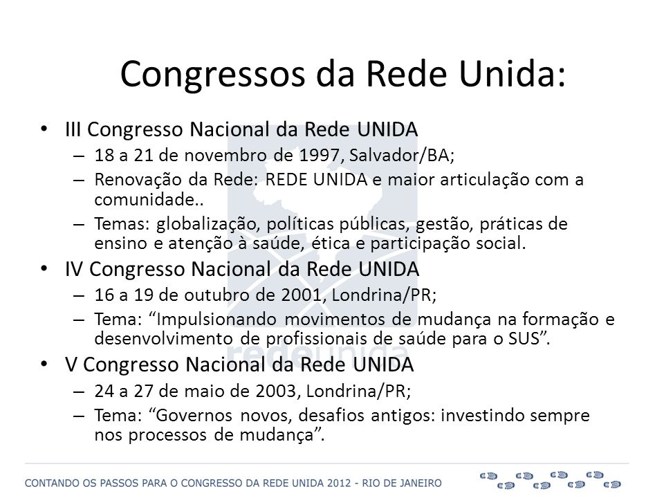 • III Congresso Nacional da Rede UNIDA – 18 a 21 de novembro de 1997, Salvador/BA; – Renovação da Rede: REDE UNIDA e maior articulação com a comunidad