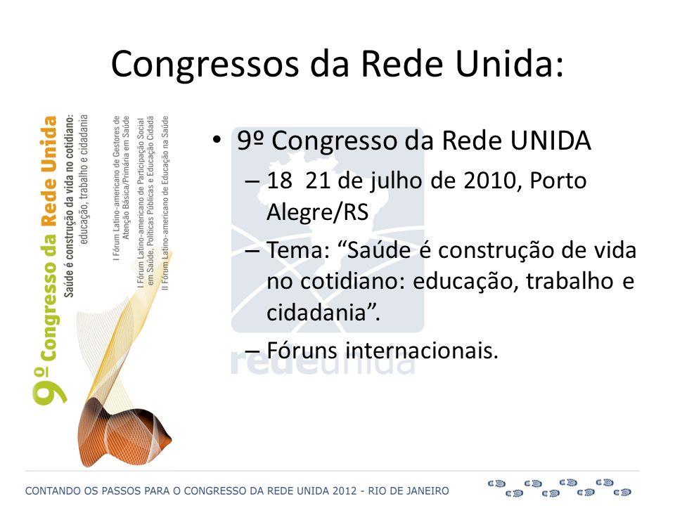 """• 9º Congresso da Rede UNIDA – 18 21 de julho de 2010, Porto Alegre/RS – Tema: """"Saúde é construção de vida no cotidiano: educação, trabalho e cidadani"""