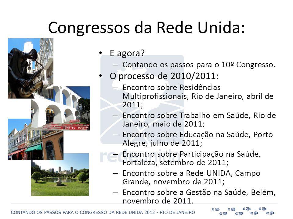 • E agora? – Contando os passos para o 10º Congresso. • O processo de 2010/2011: – Encontro sobre Residências Multiprofissionais, Rio de Janeiro, abri