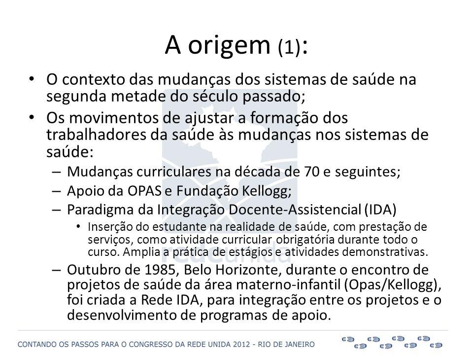 A origem (1) : • O contexto das mudanças dos sistemas de saúde na segunda metade do século passado; • Os movimentos de ajustar a formação dos trabalha