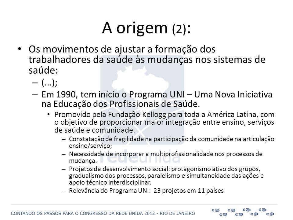 A origem (2) : • Os movimentos de ajustar a formação dos trabalhadores da saúde às mudanças nos sistemas de saúde: – (...); – Em 1990, tem início o Pr
