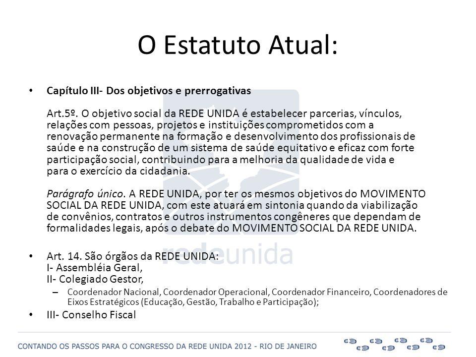 • Capítulo III- Dos objetivos e prerrogativas Art.5º. O objetivo social da REDE UNIDA é estabelecer parcerias, vínculos, relações com pessoas, projeto