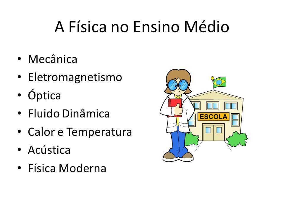 A Física no Ensino Médio • Mecânica • Eletromagnetismo • Óptica • Fluido Dinâmica • Calor e Temperatura • Acústica • Física Moderna