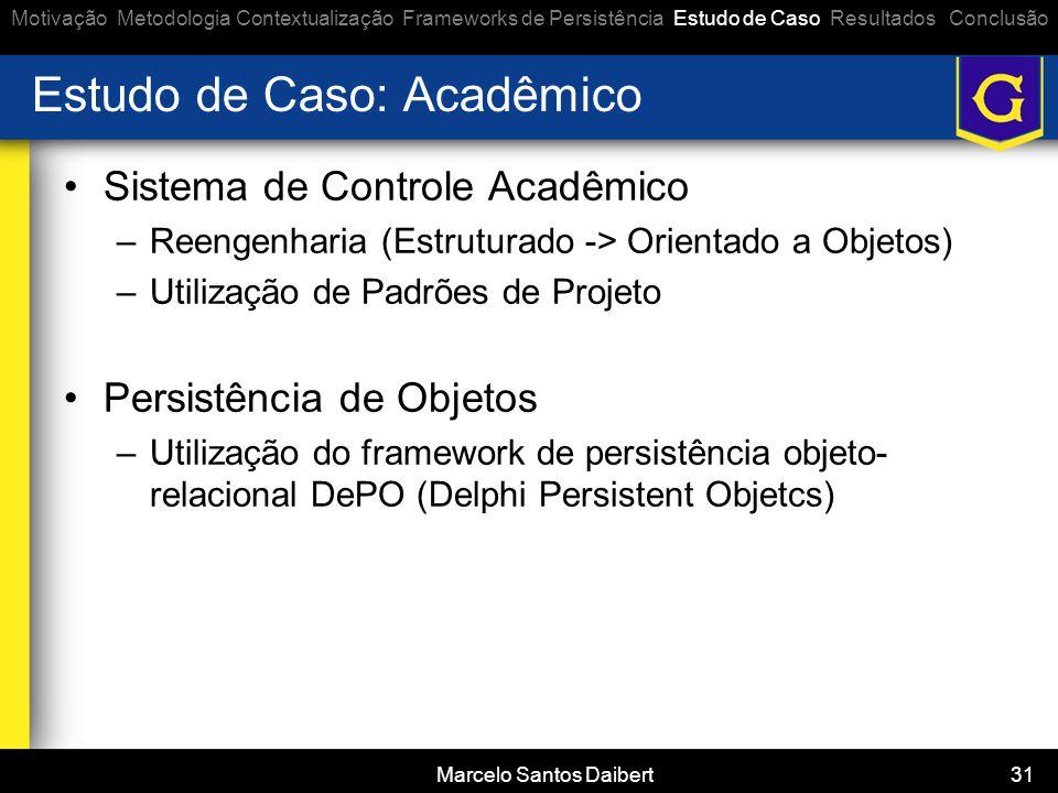Marcelo Santos Daibert 31 Estudo de Caso: Acadêmico •Sistema de Controle Acadêmico –Reengenharia (Estruturado -> Orientado a Objetos) –Utilização de P