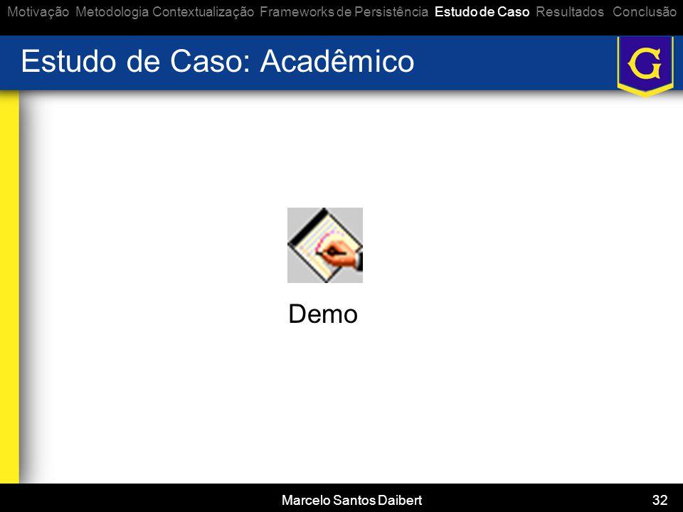 Marcelo Santos Daibert 32 Estudo de Caso: Acadêmico Demo Motivação Metodologia Contextualização Frameworks de Persistência Estudo de Caso Resultados C