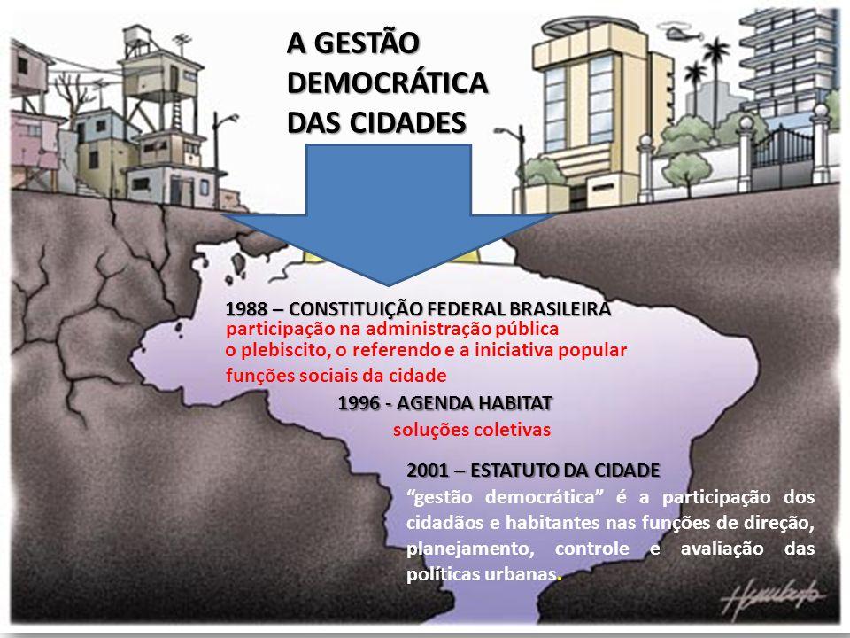 A GESTÃO DEMOCRÁTICA DAS CIDADES 1988 – CONSTITUIÇÃO FEDERAL BRASILEIRA 1996 - AGENDA HABITAT 2001 – ESTATUTO DA CIDADE participação na administração