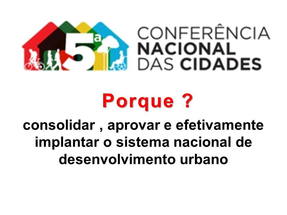 consolidar, aprovar e efetivamente implantar o sistema nacional de desenvolvimento urbano Porque ?