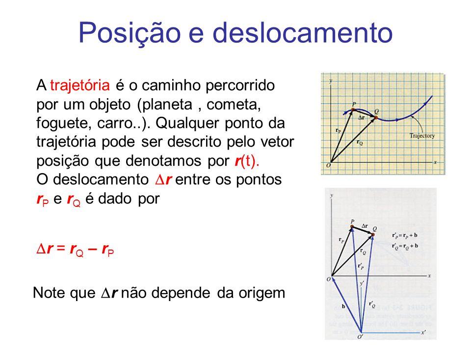 Posição e deslocamento A trajetória é o caminho percorrido por um objeto (planeta, cometa, foguete, carro..). Qualquer ponto da trajetória pode ser de