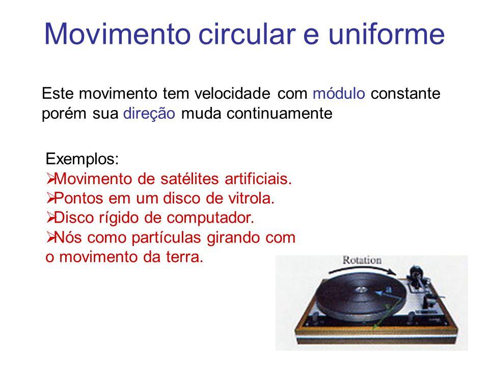 Movimento circular e uniforme Este movimento tem velocidade com módulo constante porém sua direção muda continuamente Exemplos:  Movimento de satélit