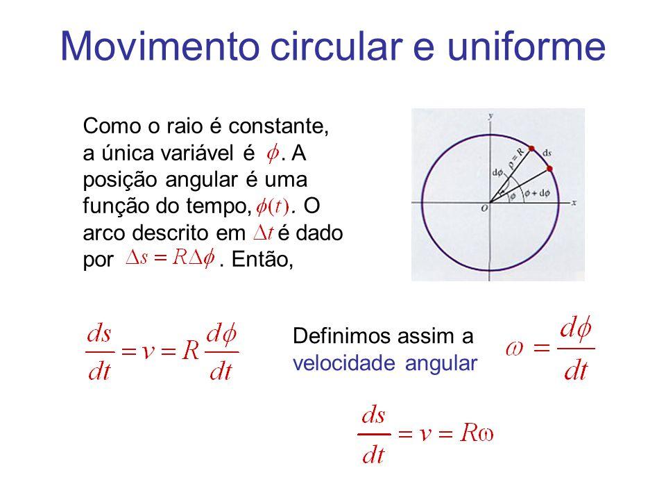 Movimento circular e uniforme Como o raio é constante, a única variável é. A posição angular é uma função do tempo,. O arco descrito em é dado por. En