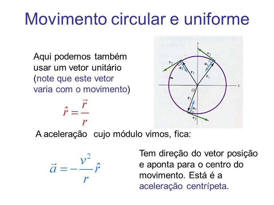 Movimento circular e uniforme Aqui podemos também usar um vetor unitário (note que este vetor varia com o movimento) A aceleração cujo módulo vimos, f